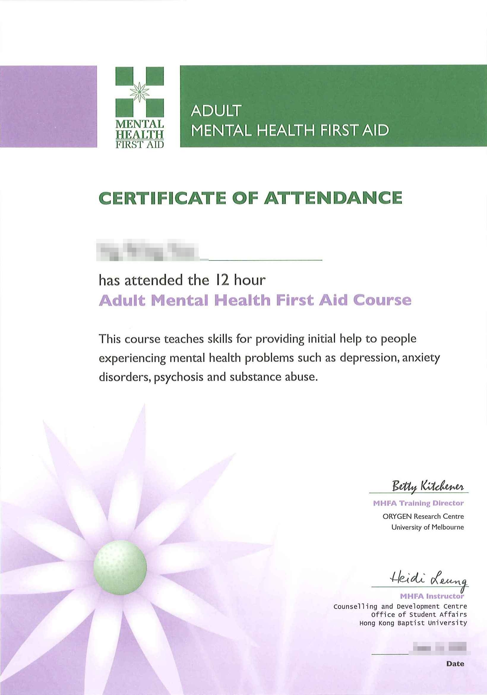 Mental Health First Aid Certificate Course